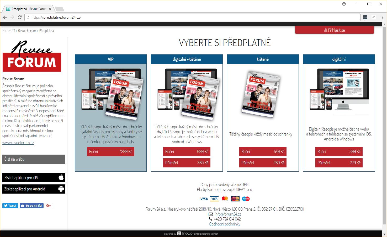 Předplatitelská brána (e-shop) powered by Triobo